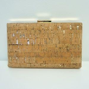 Calvin Klein Small Evening Box Clutch Cork Gold